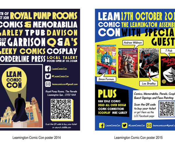 Leamington Comic Con, posters and flyers