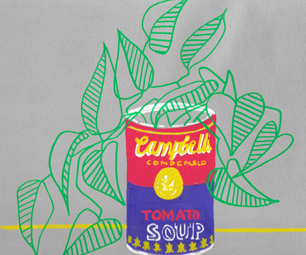 Hand-drawn Warhol style illustration